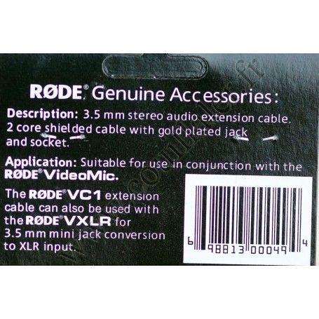 Câble ralllonge Microphone Rode VC1 - Audio MiniJack 3.5mm TRS - 3m - mâle-femelle - Rode VC1 - Accessoires Photo-Vidéo Sony ...