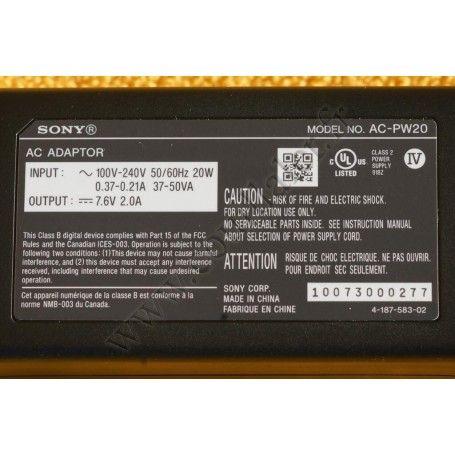 Adaptateur secteur Sony AC-PW20 - Appareil-photo Alpha ou Nex - Sony AC-PW20 - Accessoires Photo-Vidéo Sony Caméscope Apparei...
