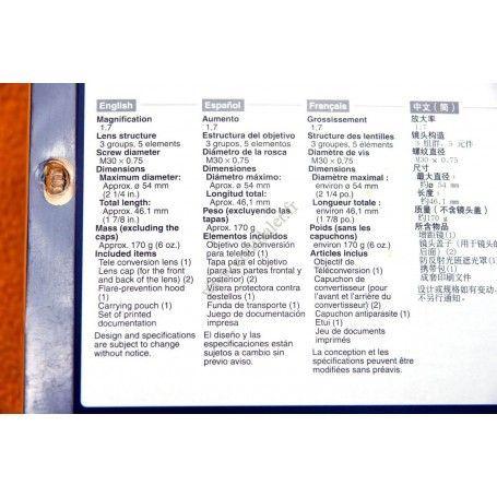 Sony VCL-HG1730A Objectifs