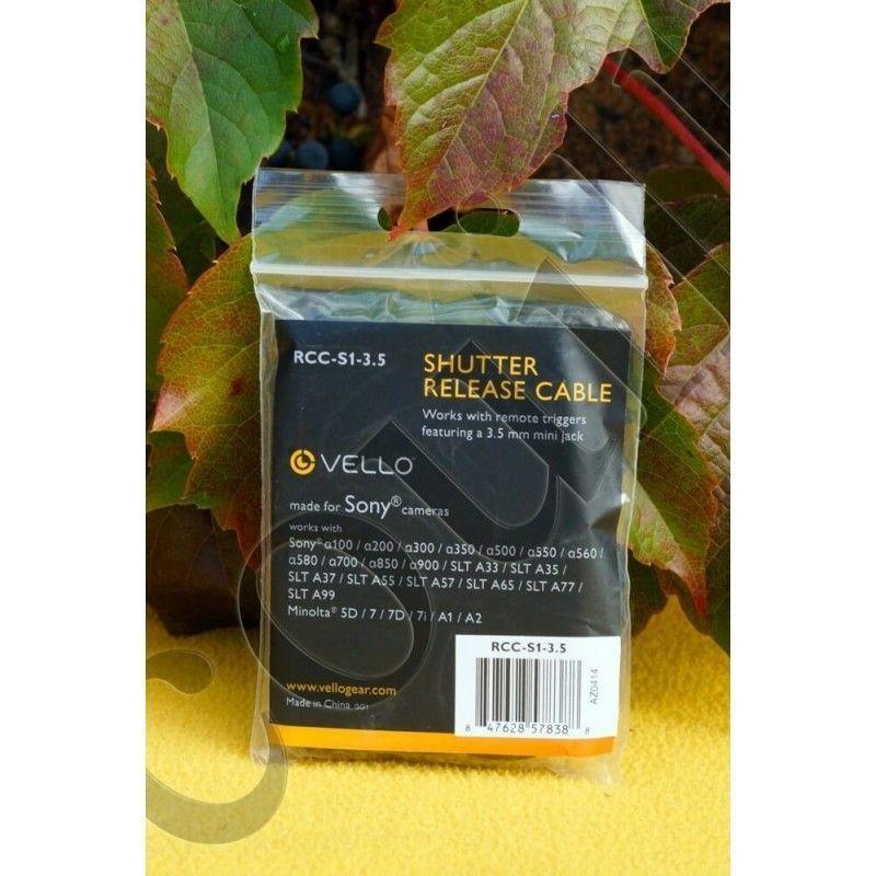 Câble pour télécommande Vello RCC-S1-3.5 - prise Sony Remote Alpha/Minolta et MiniJack 3.5mm - Vello RCC-S1-3.5 - Accessoires...