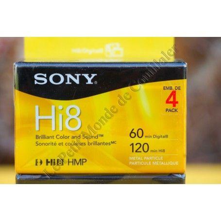 Pack 4 Cassettes Hi8 Sony 6120HMPR/4 - 120min - Digital8 - Particules Métalliques - PAL NTSC - Sony 6120HMPR/4 - Accessoires ...