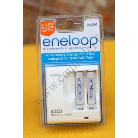 Chargeur de piles Eneloop MDR02-E-2-4UTGA avec deux piles AAA 800mAh - Eneloop MDR02-E-2-4UTGA - Accessoires Photo-Vidéo Sony...