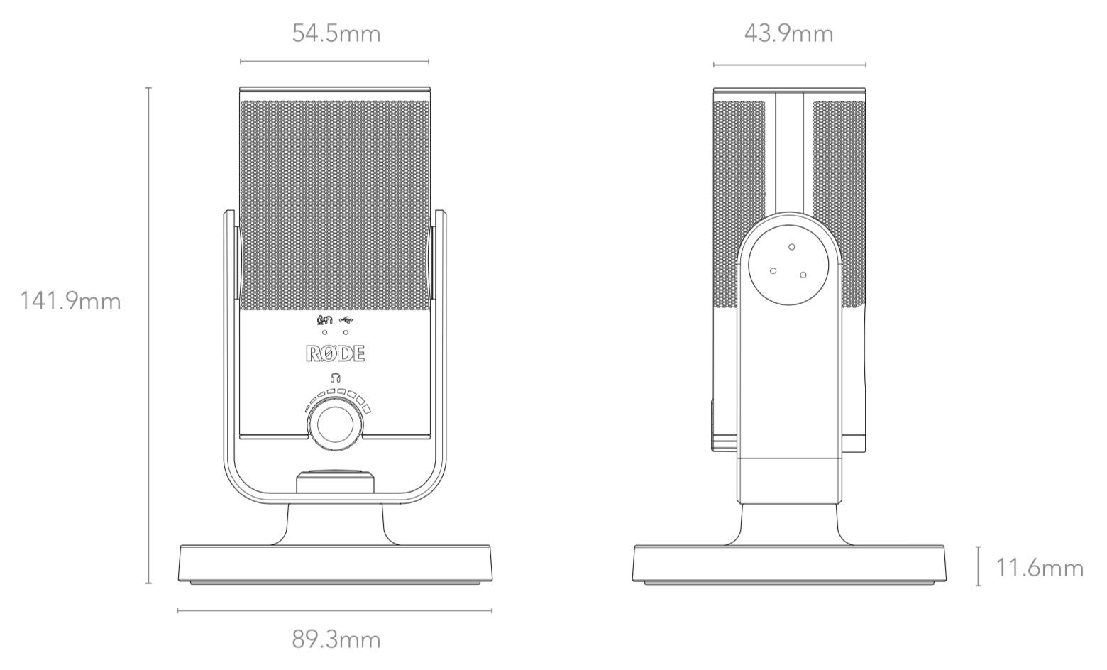 Dimensions Rode NT-USB-Mini
